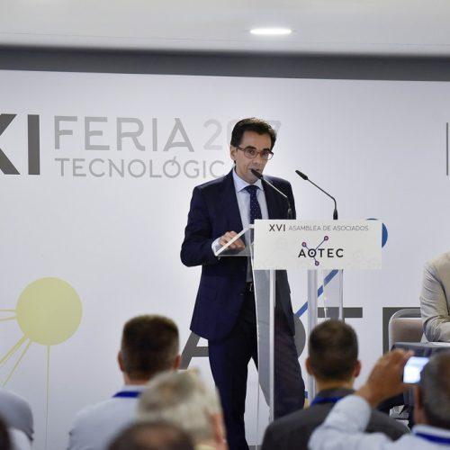 El director general de Telecomunicaciones de Andalucía, Manuel Ortigosa, y el presidente de AOTEC, Antonio García Vidal, durante el acto de clausura de AOTEC 2017.