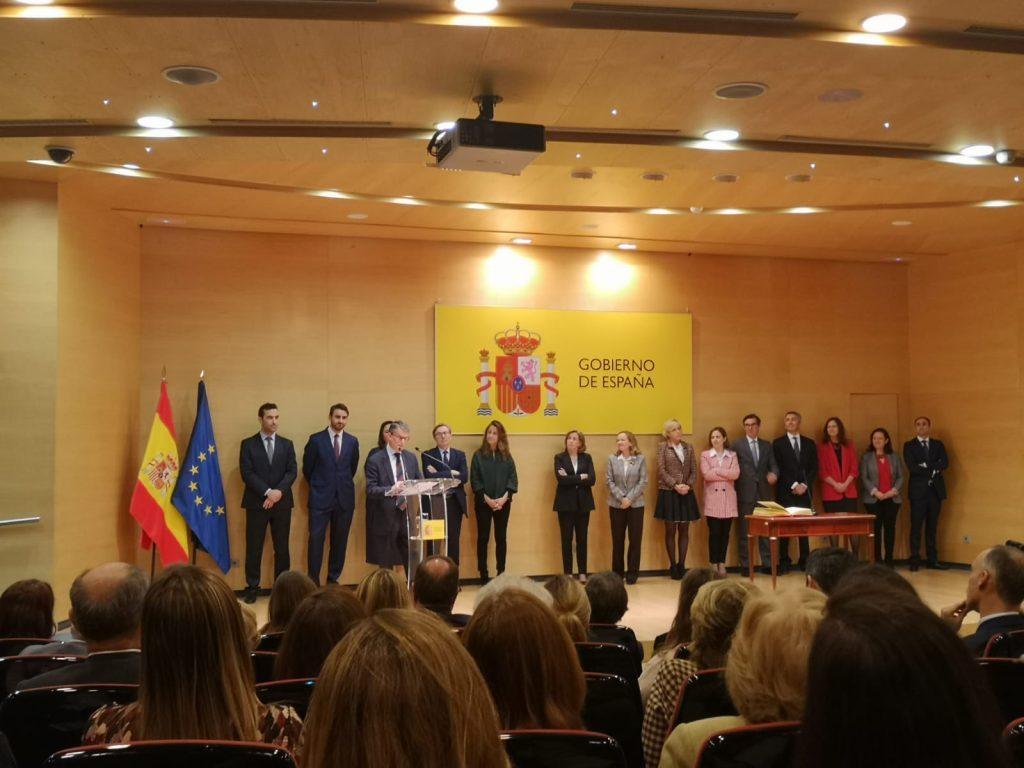 Acto de toma de posesión de los nuevos responsables del Ministerio de Economía presidido por la ministra Nadia Gaviño. El nuevo secretario de Estado de Telecomunicaciones, Roberto Sánchez, durante su intervención.